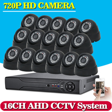 16 channel AHD 1.0MP HD 720P security outdoor camera CCTV System Kit 16ch Video Surveillance 1080P DVR NVR system HDMI 1080P NVR