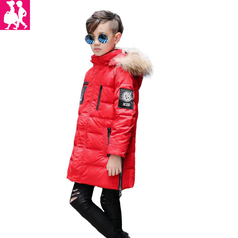 2018 Children's Winter Jackets Coats Boys Warm Thicken Hooded With Fur Downs Jacket For Teenage Kids Clothes Outerwear Snowsuit buenos ninos thick winter children jackets girls boys coats hooded raccoon fur collar kids outerwear duck down padded snowsuit