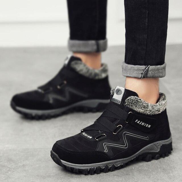 39-46 erkek Kış Kar Boots Ayakkabı Kürk Sıcak Erkek Kış Boots iş ayakkabısı Ile erkek ayakkabı Moda Kauçuk Ayak Bileği Ayakkabı büyük Boyutu