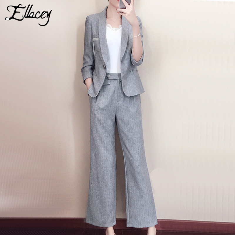 Ellacey Wide Leg Pants Suits Gray Pink Blazer Suits Female Women's Business Workwear Blazer Trousers Office Lady 2 Pieces Set