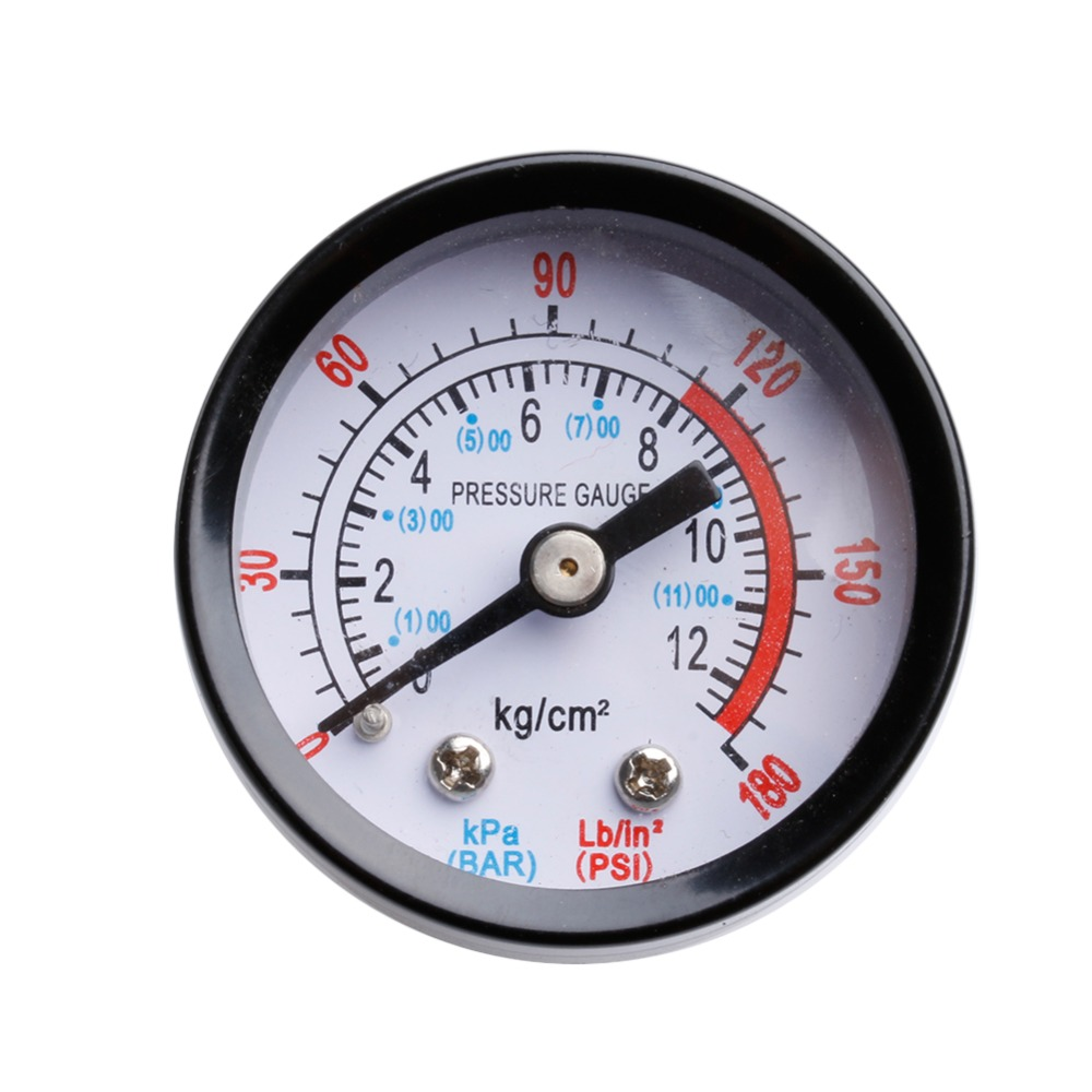 Air Compressor Pneumatic Hydraulic Fluid Pressure Gauge 0-12Bar / 0-180PSI  -Y103 rubber seals for fluid and hydraulic systems