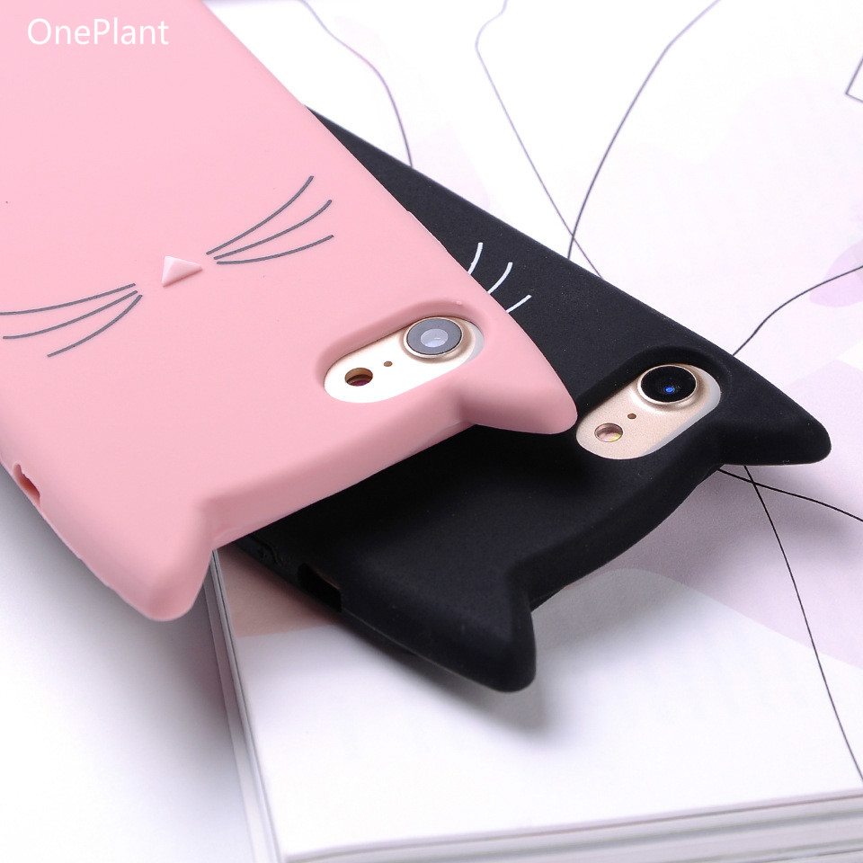 6c2eba02f59f36 OnePlant For iPhone 6 6S 7 8 Plus X Case 3D Cute Cartoon Animal Cat Ear  Silicone Case For iPhone 5S SE 6 6S 7 8 Plus Coque Capa