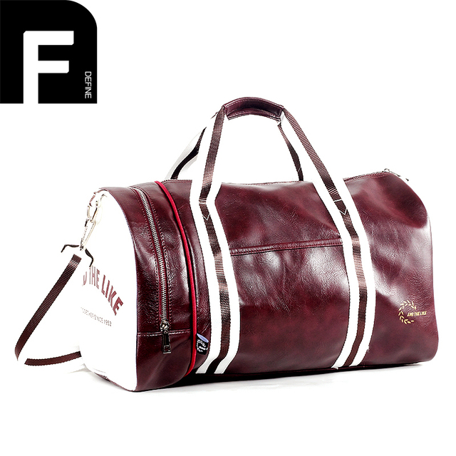 Color Matching Travel Bag PU Leather Weekender Tote for Men and ...
