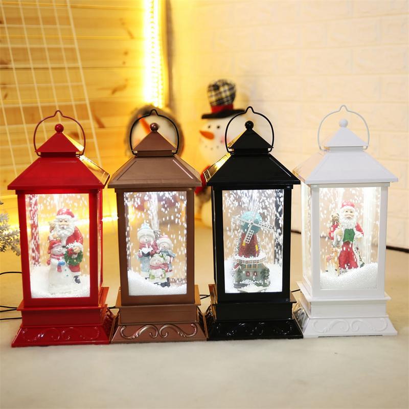 Noël LED musique pendule lumière 4 couleur USB Charge musique petit palais lanterne noël maison suspendue décoration murale lumière J2