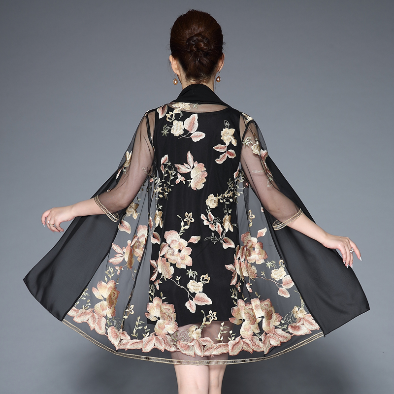 Middle Aged Women Elegant Floral Embroidery Dress Two Pieces Set Half Sleeve O Neck Casual Party