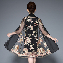 Middle Aged Women Elegant Floral Embroidery Dress Two Pieces Set Half Sleeve O Neck Casual Party Dresses Vestidos Plus Size