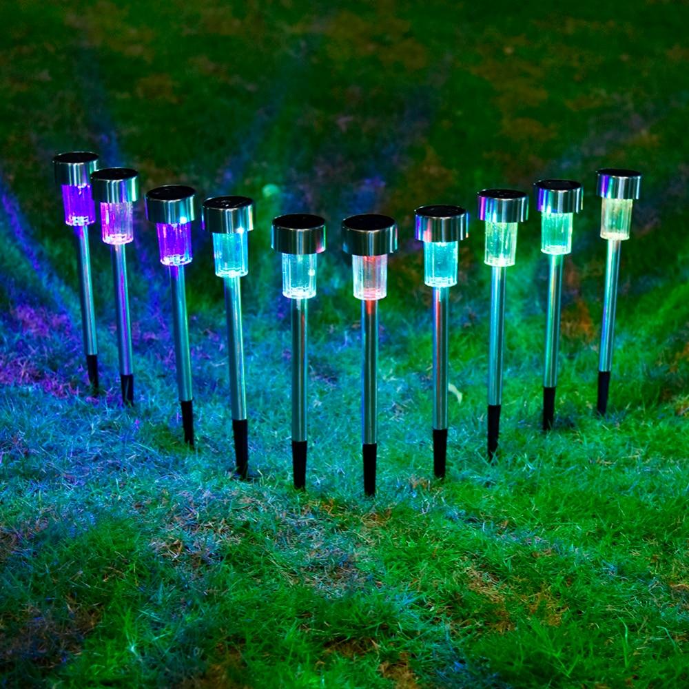 10 шт./лот Нержавеющаясталь солнечный свет для сада декоративные 100% Солнечной Мощность открытый солнечной лампы Luminaria