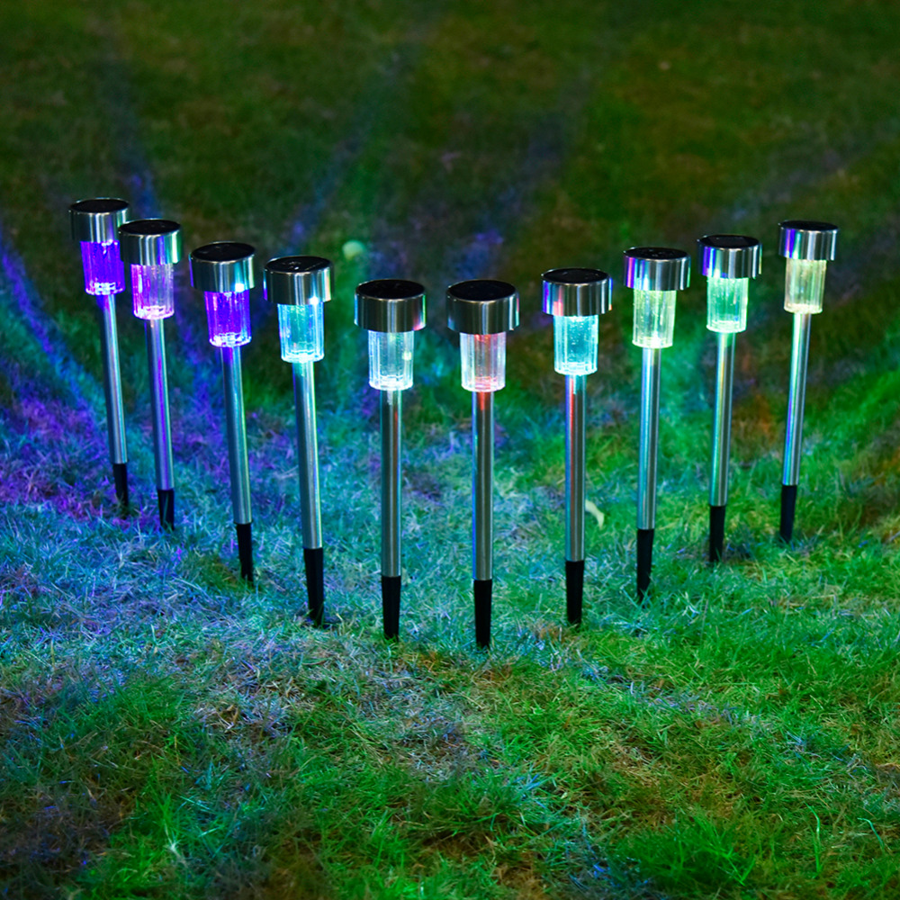10pcs/lot Stainless Steel Solar Lawn Light For Garden Decorative 100% Solar Power Outdoor Solar Lamp Luminaria