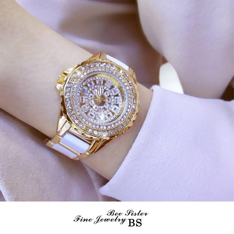 BS bee zus Vrouwen Horloge Mode Quartz Horloges Strass Horloge Reloj Mujer Klok FA1490-in Dameshorloges van Horloges op  Groep 1