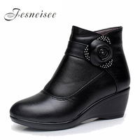 New Women Boots Women Genuine Leather Winter Boots Warm Plush Autumn Boots Winter Wedge Shoes Woman