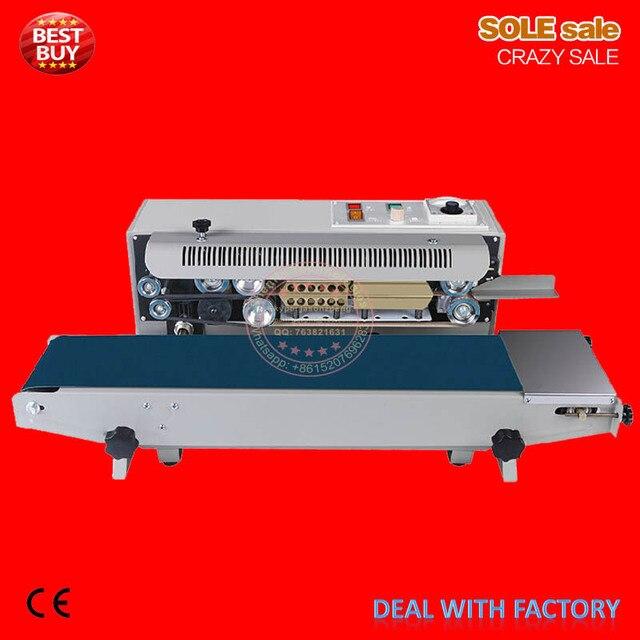 Continous plastic bag sealing machine automatic sealer aluminum foil package sealing machine food bag sealer pack FR770/900/1000