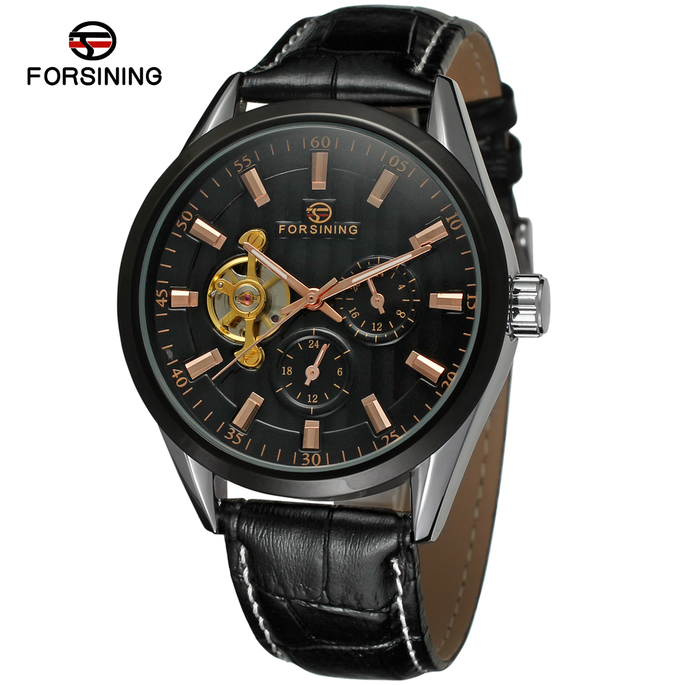 Fashion FORSINING Men Luxury Brand Genuine Leather Strap Watch Automatic Mechanical Wristwatches Gift Box Relogio RelegesFashion FORSINING Men Luxury Brand Genuine Leather Strap Watch Automatic Mechanical Wristwatches Gift Box Relogio Releges
