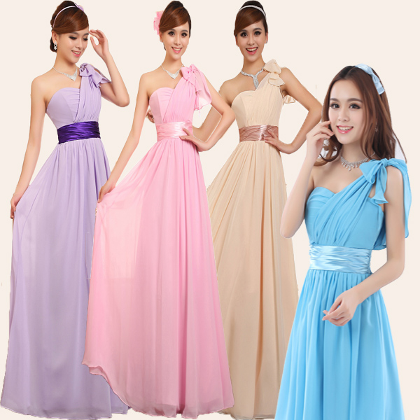 xxxxl one shoulder bridesmaid dress long banquet dress chiffon party