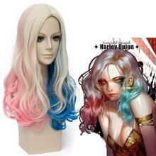 Cosplay Suicide Squad Harry Quinn Wig Curly Long Halloween Role Playing Costume Accessories + Ponytail