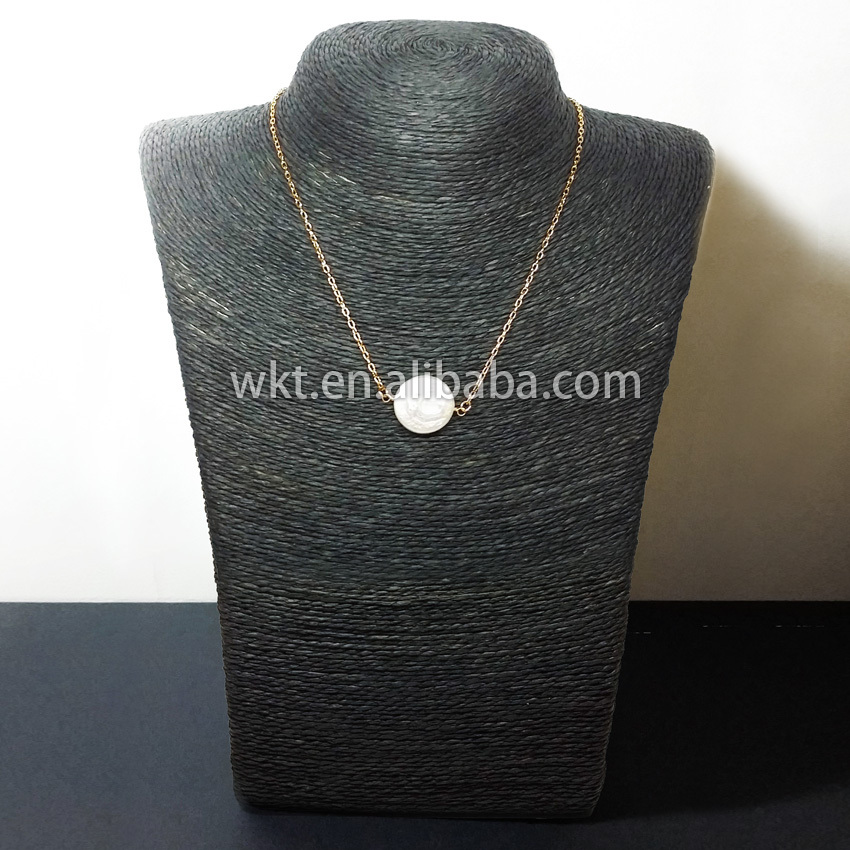 WT-N338 Wholesale Petite pearl double loops necklace,natural real - Fashion Jewelry - Photo 2