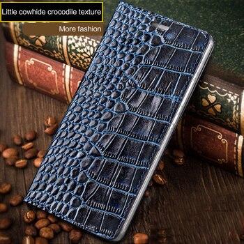 Fashion Crocodile Texture Flip phone case for LG G7 Genuine Leather phone protection Case All Handmade Phone Case wangcangli