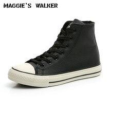 Кожаная повседневная обувь Maggie's Walker; зимняя обувь на шнуровке с высоким берцем; теплая парусиновая Уличная обувь для катания на коньках; Размеры 35-39