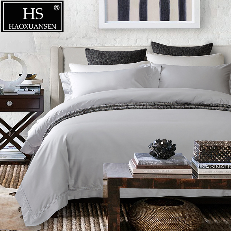 Luxury High end Super Durable 1000 Thread Count Silver Grey 4 Pieces Bedding Set Egyptian Cotton Quilt Cover Set Queen King Size
