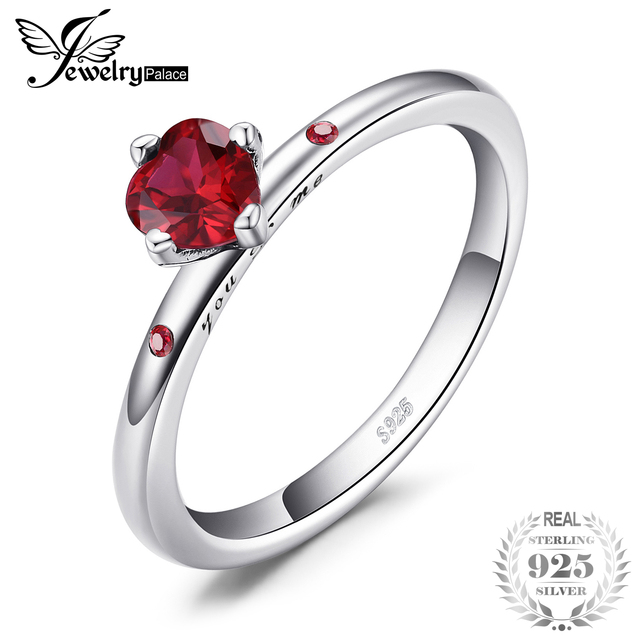 289b36ec4 Jewelrypalace 925 Sterling Silver Sincere Love Scarlet Created Rubiess  Solitare Ring Fashion Engagement Ring For Women Jewelry