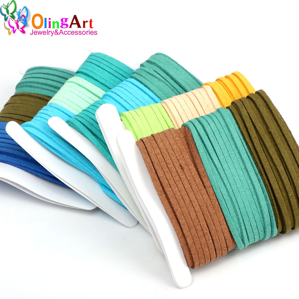 OlingArt 3*1.5mm 9M Green Faux Suede Cord /flat Leather Cord Rope ...