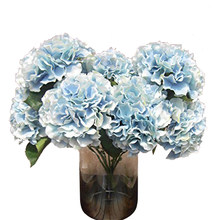 "Artificial Hydrangea Flower 5 Big Heads Bouquet (Diameter 7"" each head) Blue(China)"