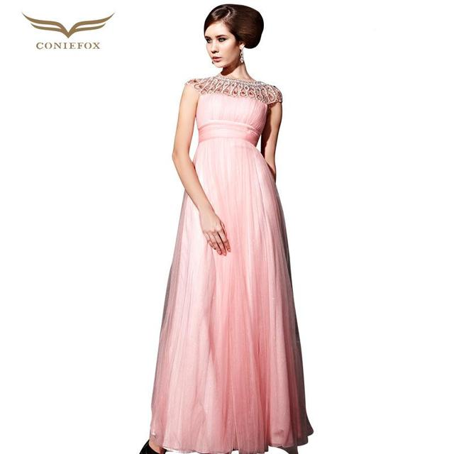 Coniefox 81055 Jewelled Scalloped Long Pink Bridesmaids Dresses