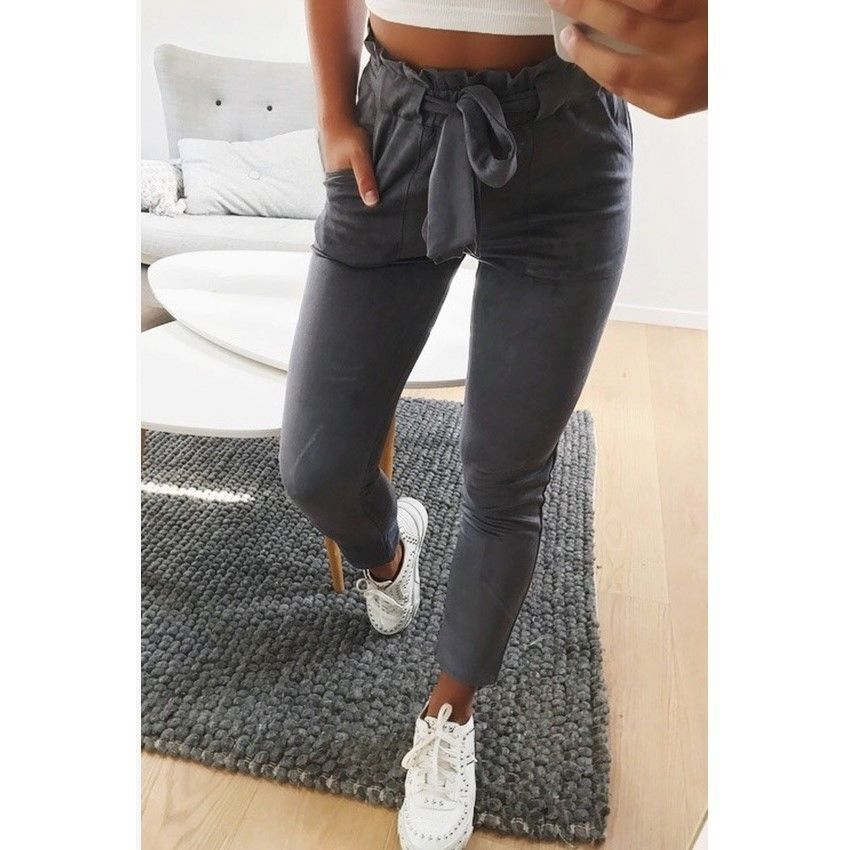 2019 Women Sexy arrival Striped Slim Skinny Casual High Waist Pencil Long Pants Trousers Flat Drawstring Bodycon Solid Pants 5