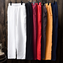 spring summer women casual trousers cotton linen all-match straight pants elastic waist pants 7 colors pantalones mujer