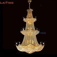LAITING Dia 120 см роскошная Корона королевская люстра большие хрустальные люстры фойе лестничные светильники LT 61005