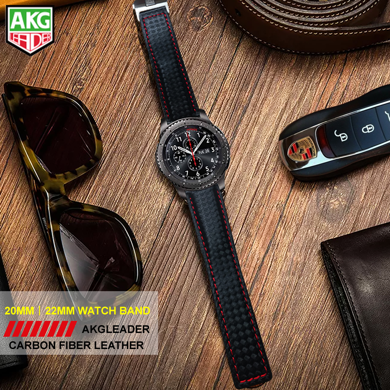 AKGLEADER 20-22mm Watch Band For Samsung Gear S3 Carbon Fiber Genuine Leather Band For Huami Amazfit 2 Best Quality For HuaweiAKGLEADER 20-22mm Watch Band For Samsung Gear S3 Carbon Fiber Genuine Leather Band For Huami Amazfit 2 Best Quality For Huawei