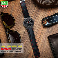 AKGLEADER 20 22mm Watch Band For Samsung Gear S3 Carbon Fiber Genuine Leather Band For Huami Amazfit 2 Best Quality For Huawei|Watchbands|Watches -