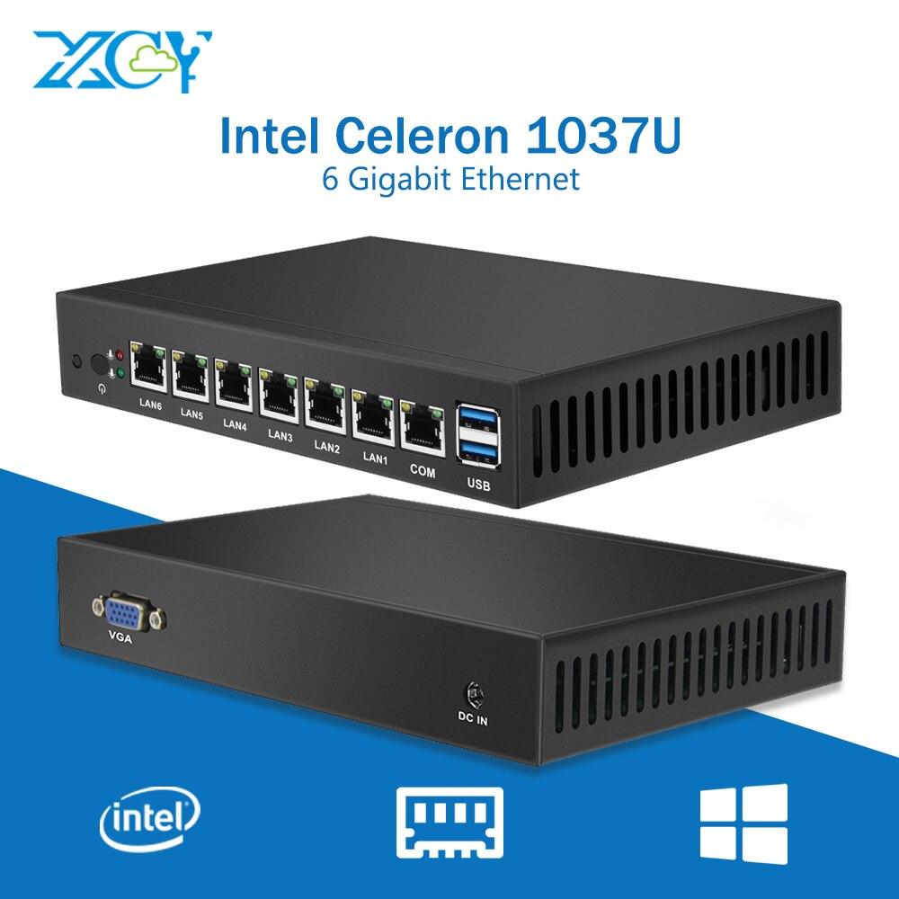 6 * LAN Gigabit Ethernet Mini PC Celeron 1037U Dual Core Mini Ordinateur Client Léger Serveur Routeur Pfsense Windows Linux USB3.0