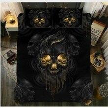 Dropshipping король Размеры кровать 3D черного сахарного черепа пододеяльник наволочка AU queen постельное белье с изображением черепа комплект Король, королева Размеры