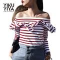 Yikuyiya novas mulheres da moda primavera 2017 listras vermelhas babado ombro off sexy t-shirt magro slit ruffles long neck sleeve t-shirt