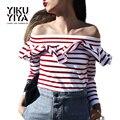 Yikuyiya nuevas mujeres primavera 2017 rayas rojas volante hombro sexy camiseta delgada hendidura volantes cuello de manga larga t-shirt