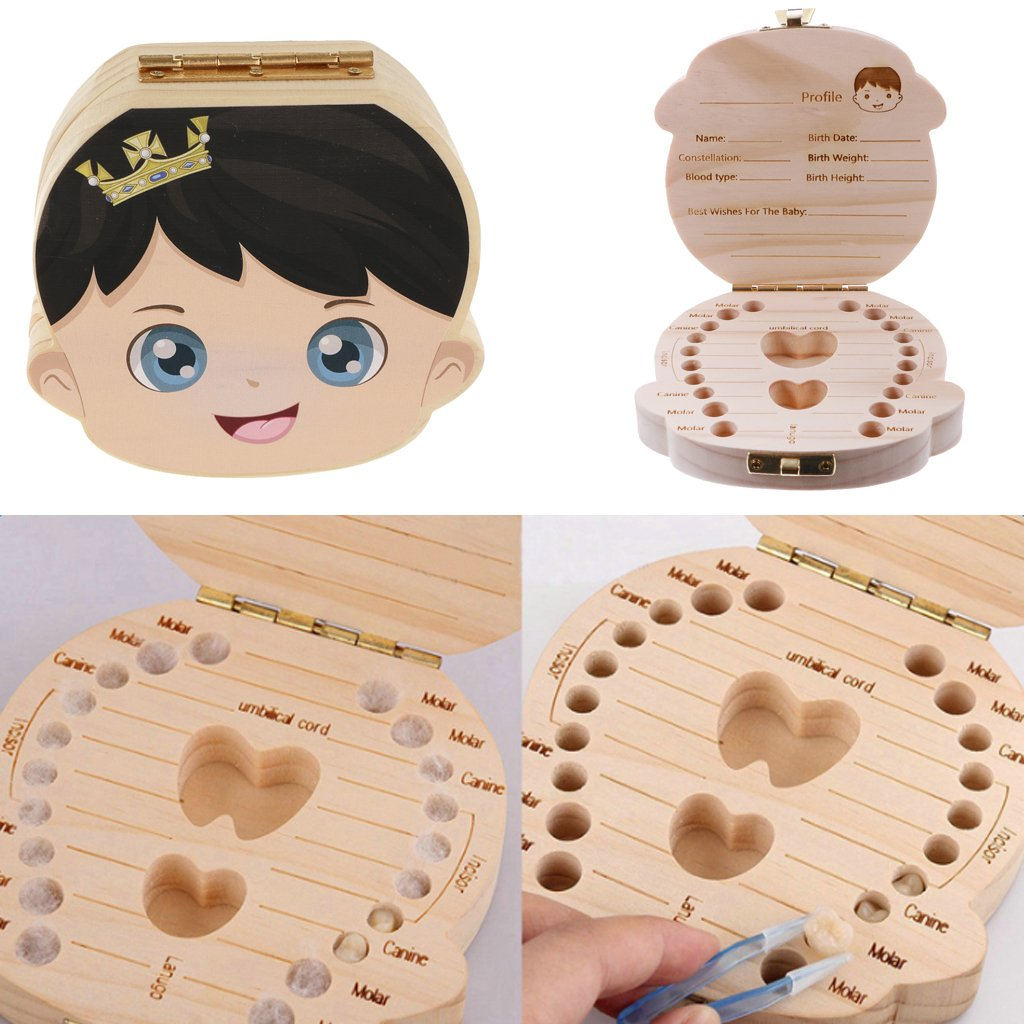 Wooden Cute Baby Souvenirs Girl Boy Tooth Box Organizer Container Storage Teeth Box Keepsake Gift For Baby Shower Birthday Party