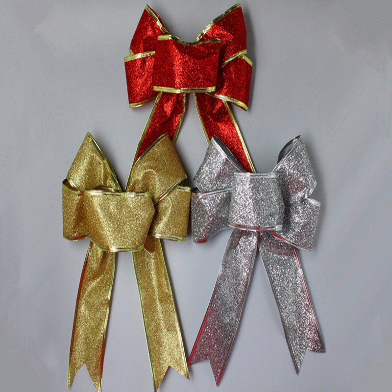 3Color Large Red Silver Guld Jul Ribbon Bow Julgransdekoration - Semester och fester - Foto 2