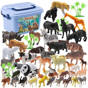 Image 2 - 44pcs Genuine Wild Jungle Zoo Farm Animal Series Jaguar Collectible Model Kids Toy Early Learning Cognitive Toys Gifts Random