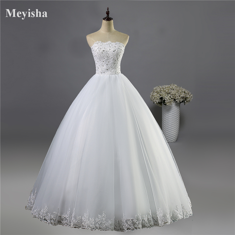 ZJ9061 Lace Bottom White Ivory Prom Gown Lace Up Back Wedding Dresses 2019 For Bride Gown Vintage Plus Size Customer Made