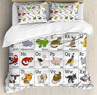 Educational Duvet Cover Set Alphabet Learning Chart with Cartoon Animals Names Letters Upper and Lowercase 4 Piece Bedding Set