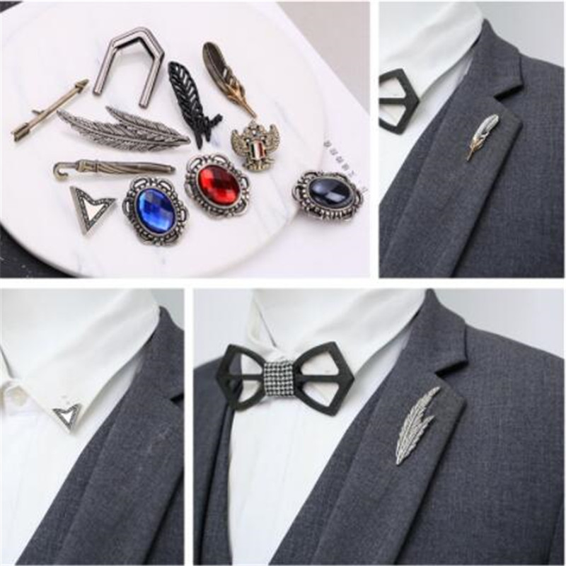 Fashion Retro Unisex Leaf Lapel Pin Stick Badge Suit Breastpin Brooches Pin Gift