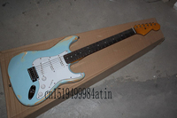 Free Shipping New Arrival Custom Guitar F SSS Retro Stratocaster blue 6 Strings natural Wood Electric Guitar