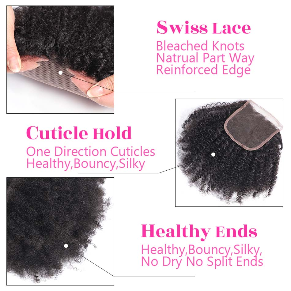 Image 3 - MOBOK Brazilian Human Hair Afro Kinky Curly closure 8 20Inch 4*4 Free Part Lace Closure Natural Color Remy Hair Weaving 1PC/Lot-in Closures from Hair Extensions & Wigs