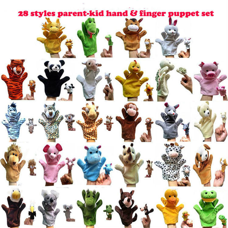 1Pair Big Hand Puppet For Adult Hands Finger Puppet Plays Glove Animal Plush Doll For Kids Children Wolf Hippo Zebra Dragon Pig