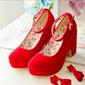 2016 spring and autumn red wedding round toe with shoe women formal dress thick platform high heeled bridal shoes Free shipping