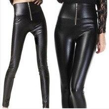 חדש 2018 קיץ חיקוי עור מכנסיים גבוה מותן למתוח Slim ליידי מכנסי עיפרון לפני את רוכסן סקסי חותלות נשים Pu מכנסיים