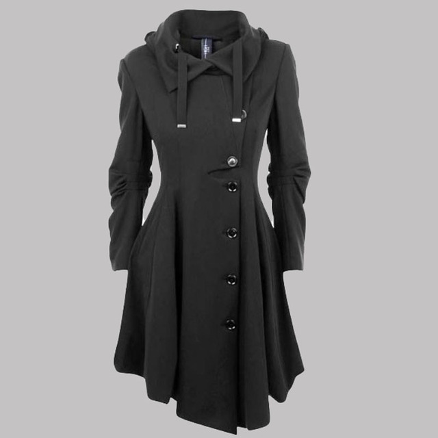 2016 асимметричная черное пальто стоять воротник длинный рукав женщины пальто элегантный однобортный с длинным рукавом тонкий осень зима ZA141