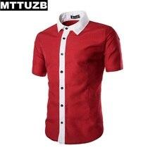 MTTUZB New arrival men shirt Casual Slim Fit Business Formal Shirts man leisure short sleeve shirt male dress shirt M-XXL
