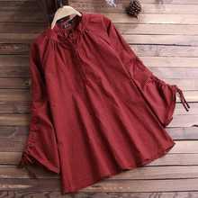 2019 ZANZEA Women Vintage Button Down Blouse Check Plaid Shirt Casual Cotton Linen Pleated Blusas Tunic Tops Blusa Feminina 5XL