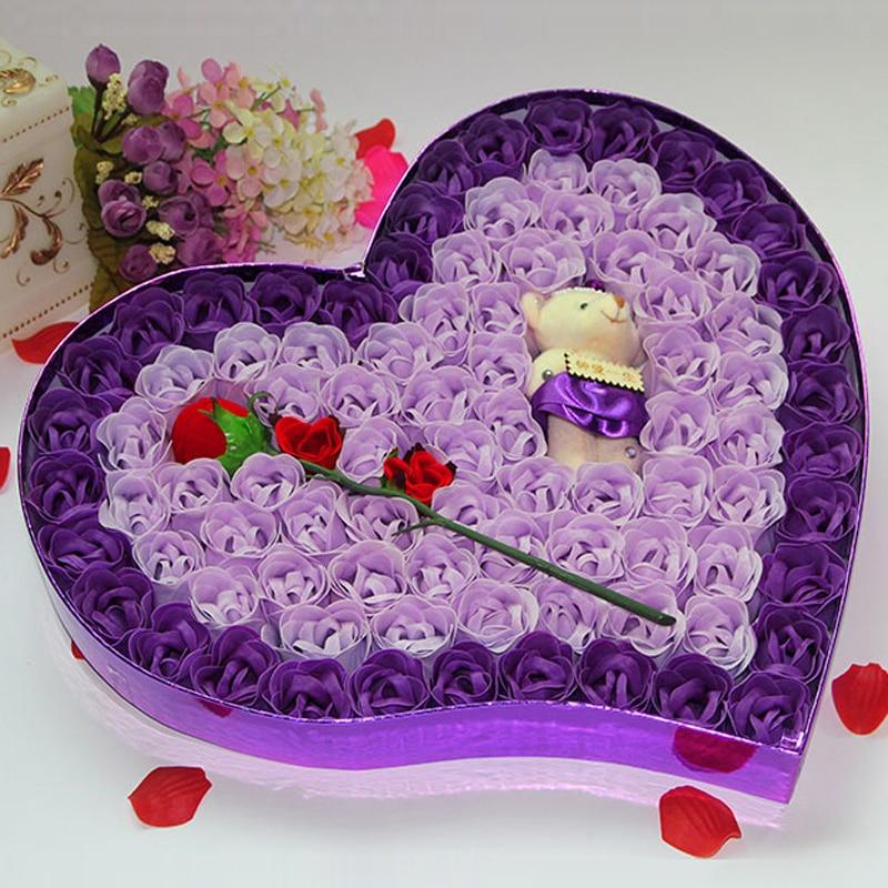 Saint valentin cadeaux Rose fleur mariage faveurs et cadeaux coeur forme fleurs artificielles décoration de mariage